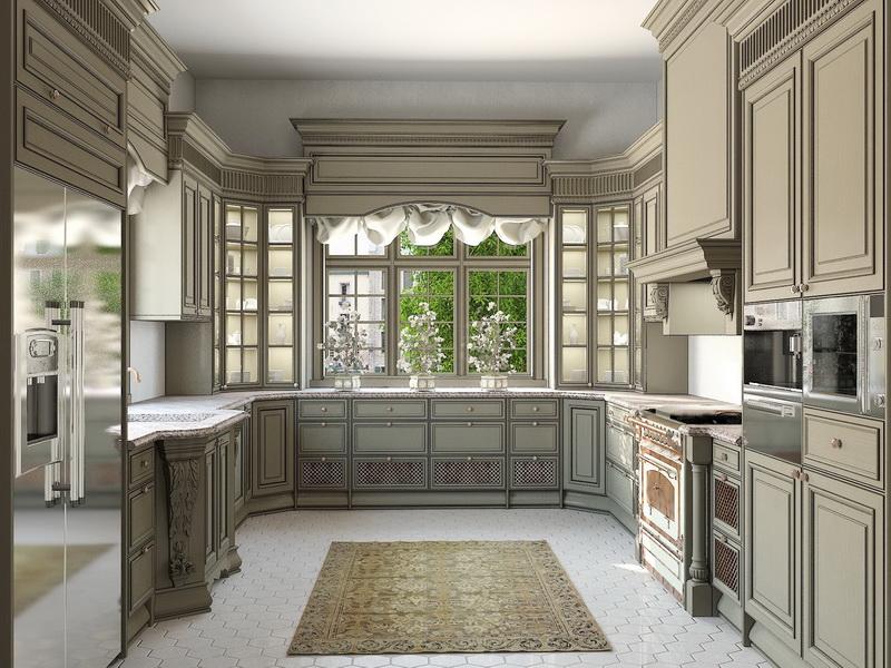 Дизайн кухни с г образным окном
